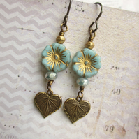 Pale Blue Czech Flower and Heart Dangle Earrings