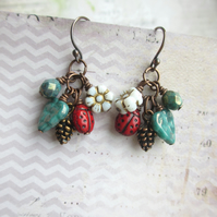 Ladybird, Leaf and Pine Cone Earrings, Glass Beads and Copper