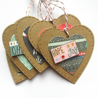 Christmas Gift Tags set of 6 Festive Hearts