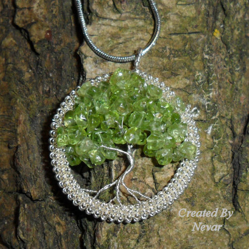 Peridot Tree Of Life Pendant, August Birthday Tree Of Life Necklace