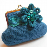 Blue knitted purse