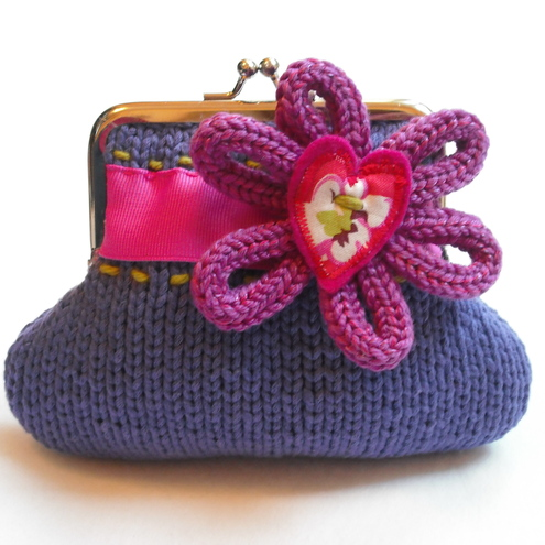 Purple knitted purse