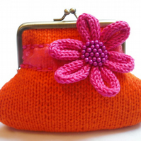 Orange knitted purse