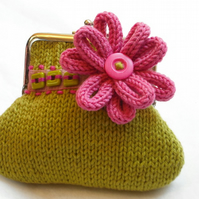Green Knitted flower purse