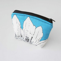 Clearance Sale - Floral Curvy Coin Purse in Teal, Black and White