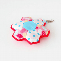 Clearance Sale - Hexies Patchwork Keyfob Hexagon Patched Key Ring or Bag Charm