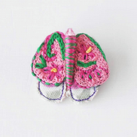Sale - Hand embroidered mixed media floral moth brooch in pink, yellow and green