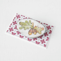 Clearance Sale - Decoupage Acorns and Oak Leaves Brooch