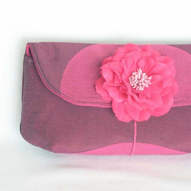 Clutch Bag in Pink and Plum