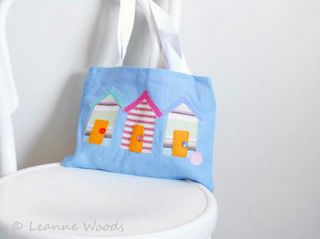 SALE - Applique Beach Huts Tote Bag