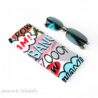 SALE - Retro Glasses Case, Sunglasses Case in Pop Art Comic Book