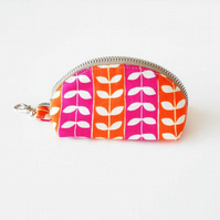One Day Sale - Stems Clamshell Coin Purse Keyring Change Purse, Zipped Coin Purs