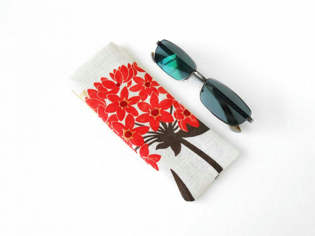Floral Glasses Case, Sunglasses Case in Orange Flowers