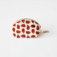 Hedgehogs Clamshell Coin Purse, Zipped Change Purse with Keyring