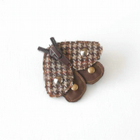 Clearance Sale - Mixed Media Zip Moth Brooch in Tweed and Suede