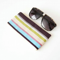 Large Eyeglass Case, Glasses Case, Sunglasses Case in Denim Stripe