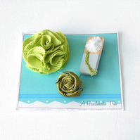 Sale - Trio of Floral Brooches in Shades of Green, Set of 3 handmade brooches