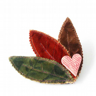 Autumn Velvet and Ceramic Leaf Trio Brooch in Red, Green and Chocolate Brown