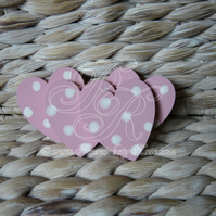 4 x Baby Pale Pink & White Polka Dot Heart Fridge Magnets