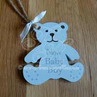 New Baby Boy Blue Personalised Hanging Teddy Bear Handmade Gift