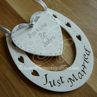 Wedding Horseshoe With Personalised Heart Gift