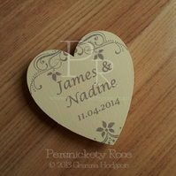 25 x Personalised Names & Date Wedding Favour Magnets in Cream & Brown 6cm