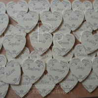 20 x Personalised Name Placecard Wedding Favour Magnets in Cream & Brown 6cm