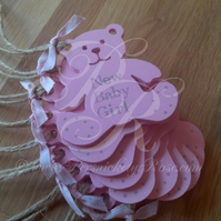 New Baby Girl Pink Personalised Hanging Teddy Bear Handmade Gift