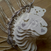 New Baby Cream Neutral Personalised Hanging Teddy Bear Handmade Gift