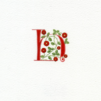 Initial letter in red with roses custom letter.