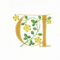Letter 'U' in dark yellow with heraldic roses.