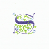 Initial letter 'S' in dark blue with bluebells custom initial letters.