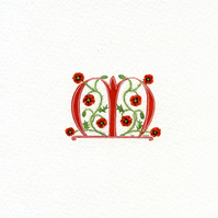 Initial letter 'M' handpainted in red with poppies.