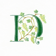 Letter in green handpainted with grapes and vine.