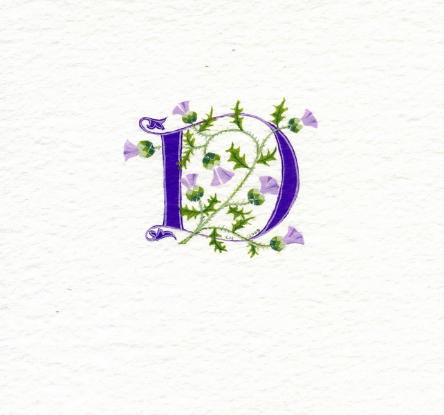 Initial letter 'D' in purple with Scots thistles custom initials.