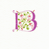 Initial letter 'B' in pink with pink and white Fuchsias.