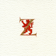 Letter 'Z' 23c gold leaf with a red lion rampant.