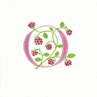 Initial letter 'O' in dark pink with raspberries.