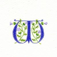Initial letter 'W'  handpainted in purple with thistles