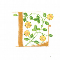 Initial letter 'L' handpainted in yellow with heraldic roses.