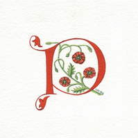 Letter in red with poppies custom letter.