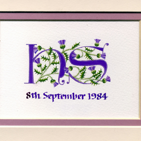 Letters in purple with Scots thistles handmade custom wedding gift.