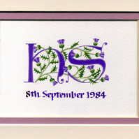 Two initial letters  in purple with Scots thistles handmade wedding gift.