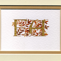 Two initial letters in gold with autumn leaves handmade wedding anniversary.
