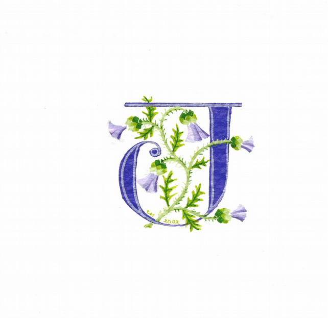 Initial letter 'J' in purple with thistles cust... - Folksy