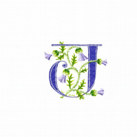 Initial letter 'J' in purple with thistles custom birthday gift