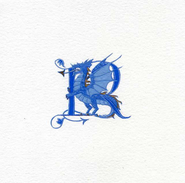 Letter in blue with a blue and gold dragon custom letter.