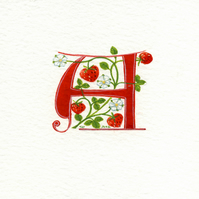 Letter 'A' in red with strawberries custom initials gift