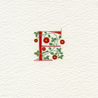 Letter 'F' in red with heraldic roses handmade letter..