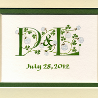 Double initials in green with white clover wedding anniversary gift.
